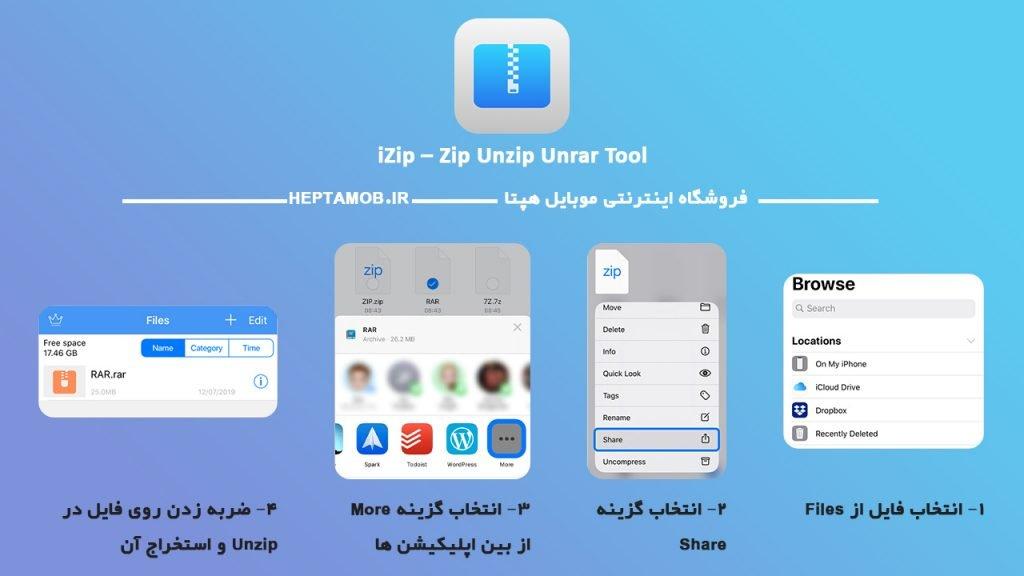 مراحل استخراج فایل فشرده در UnZip