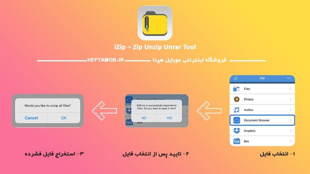 مراحل استخراج فایل فشرده در iZip
